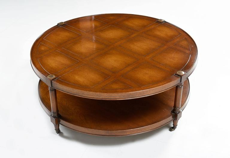 Ordinaire Hollywood Regency Heritage Mahogany Round Coffee Table On Casters For Sale