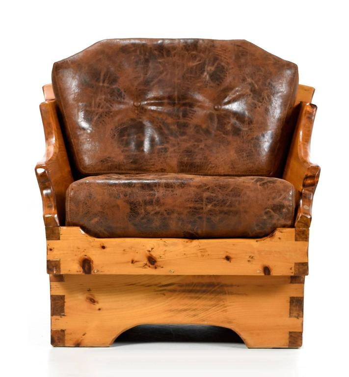 American 1950s Handmade Rustic Arts & Crafts Style Armchair, Solid Pine and Leather For Sale