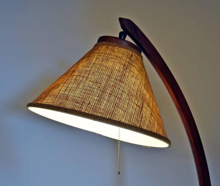 Mid Century Modern Rispal Style Danish Teak Arc Floor Lamp