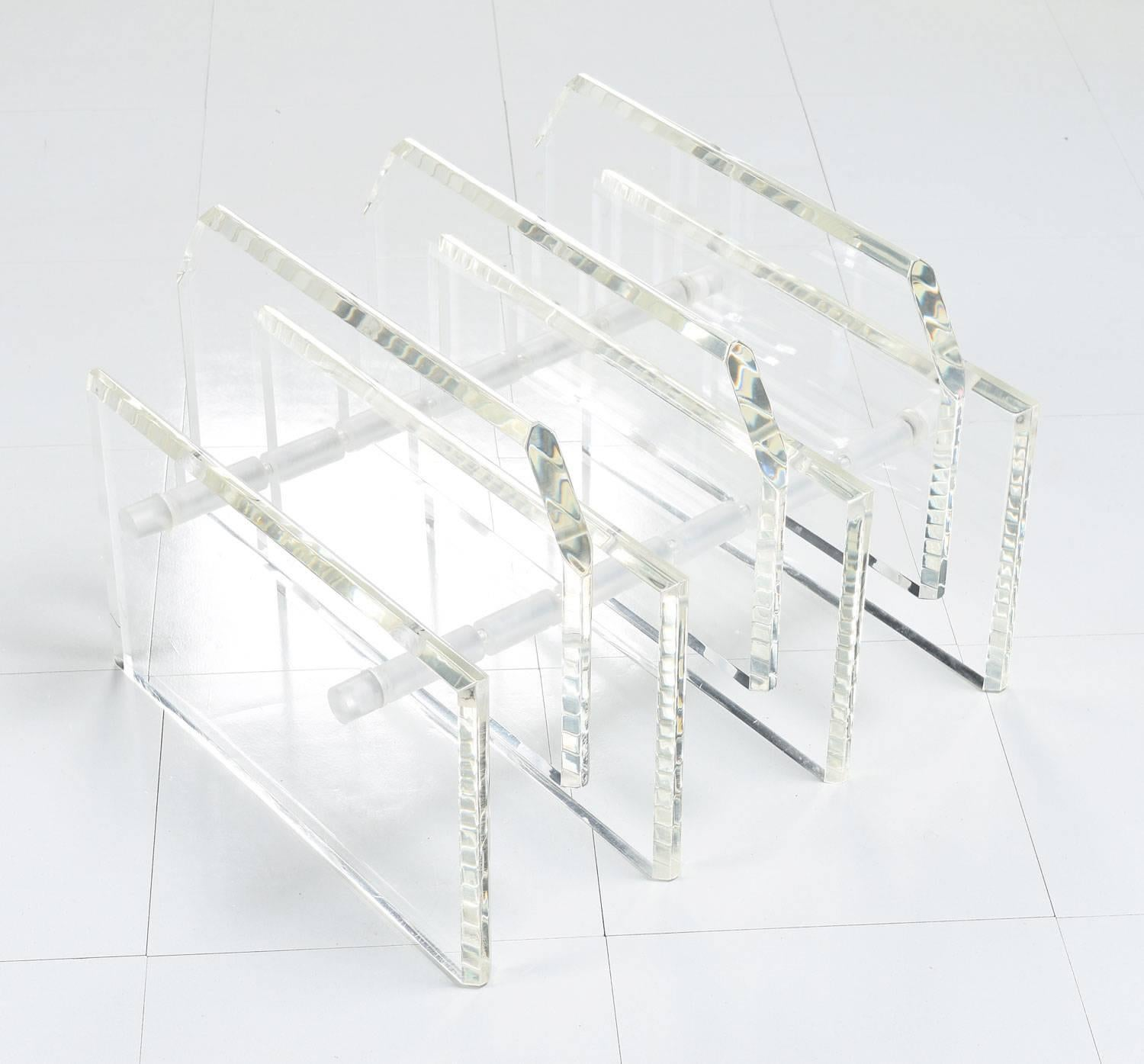 bookshelf coffee table picked vintage in mid magazine lucite century rack with built modern