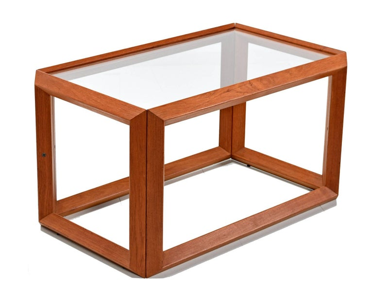 Mid-Century Modern Solid Teak and Glass Cubist Architectural Living Room Coffee Table End Table Set For Sale