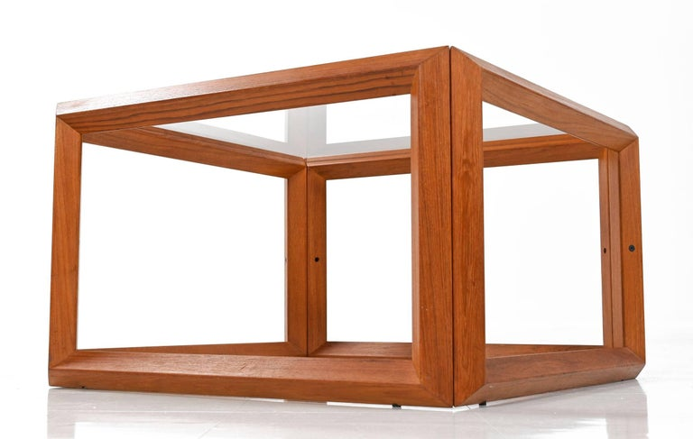 Late 20th Century Solid Teak and Glass Cubist Architectural Living Room Coffee Table End Table Set For Sale