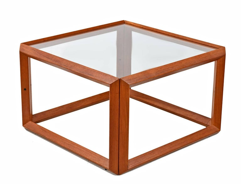 Thai Solid Teak and Glass Cubist Architectural Living Room Coffee Table End Table Set For Sale