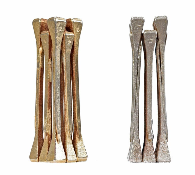 Chess Set, Brutalist Style Handcrafted Steel Nail Silver and Bronze For Sale 2