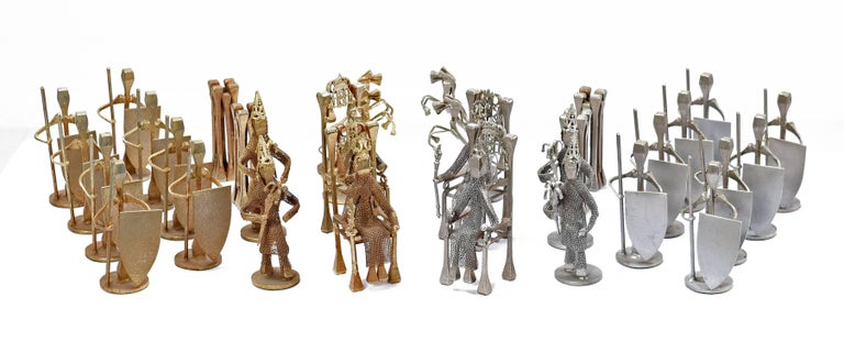 Chess Set, Brutalist Style Handcrafted Steel Nail Silver and Bronze In Excellent Condition For Sale In Saint Petersburg, FL
