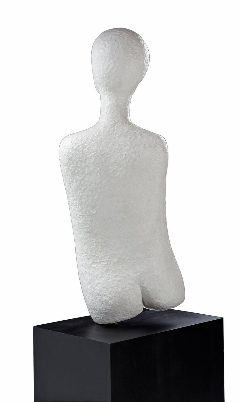 Unknown Haunting Nude Abstract Figural Modernist Plaster Sculpture and Pedestal Base For Sale