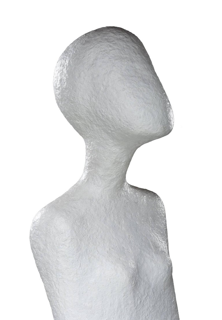 Post-Modern Haunting Nude Abstract Figural Modernist Plaster Sculpture and Pedestal Base For Sale