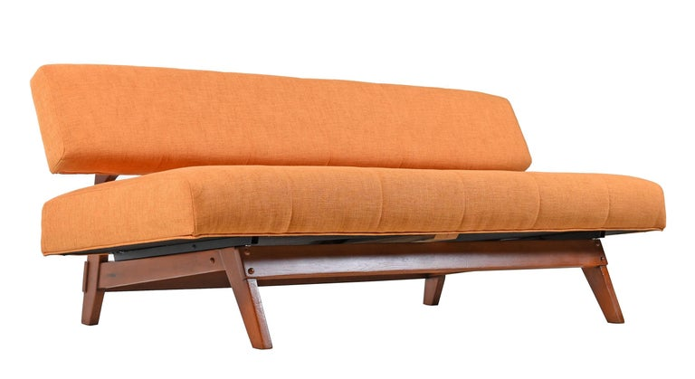 Mid Century Modern Orange Convertible Daybed Sofa For Sale