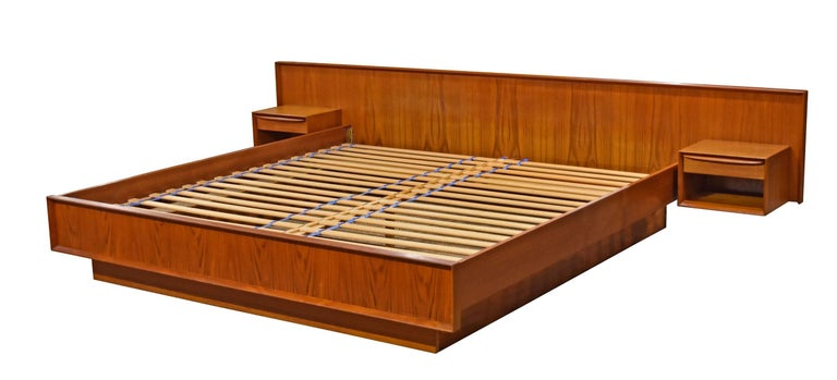 Danish Teak King Platform Bed With Floating Nightstands By Falster