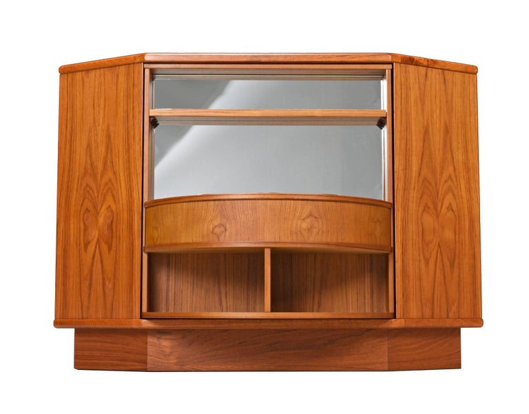 Strange Revolving Danish Teak Corner Cabinet Bookcase With Mirrored Bar Reveal 1970S Download Free Architecture Designs Rallybritishbridgeorg