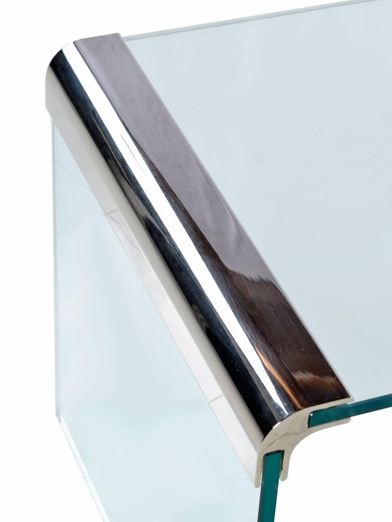 Mid-Century Modern Pace Collection Chrome and Glass Waterfall Coffee Table by Leon Rosen For Sale