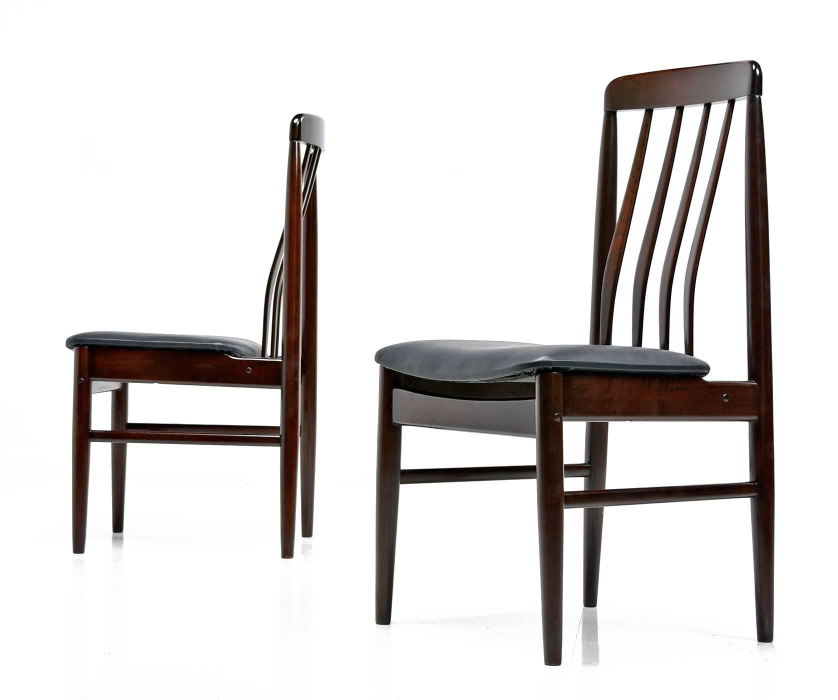 Scandinavian Set Of (6) Danish Modern Rosewood Slat Back Dining Chairs,  1960s For