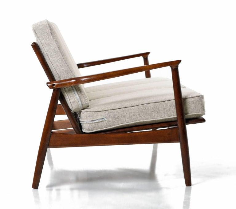 Mid-Century Modern Grete Jalk Style Three-Seat Wood Frame