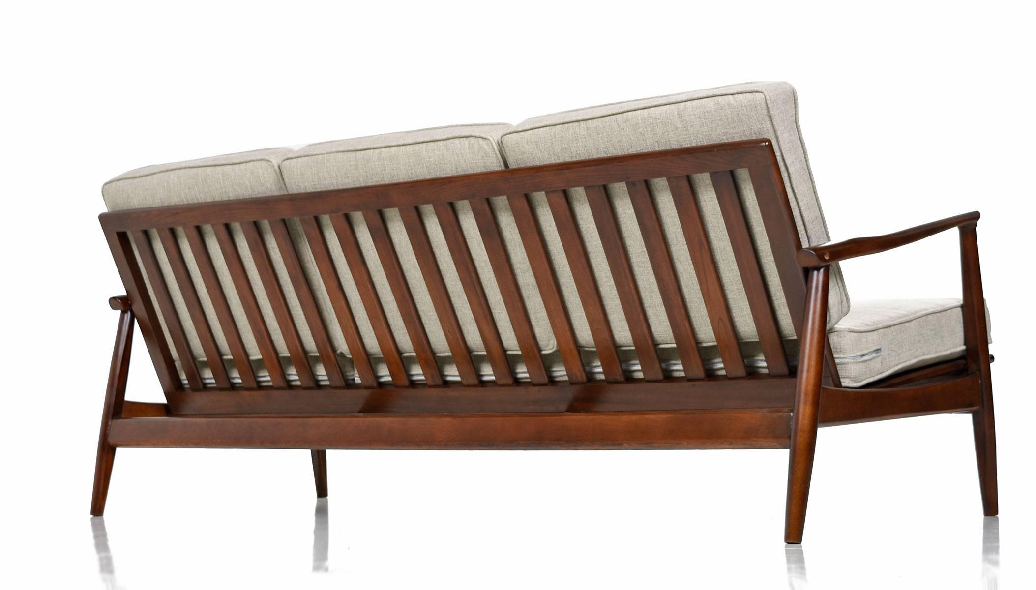 Mid-Century Modern Grete Jalk Style Three-Seat Wood Frame Sofa Couch ...