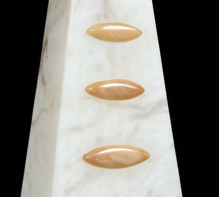 American Alabaster Pyramid Table Lamps and Finials, Art Deco to Modern Transitional Style For Sale