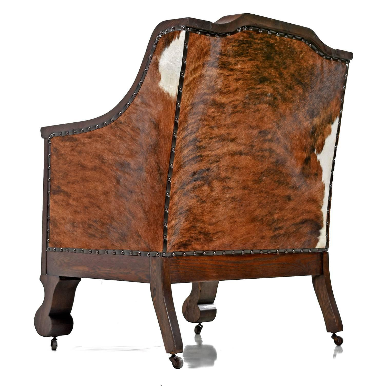 Early 1800s Handmade Empire Style Leather Thrown Chair Re Invented In  Cowhide For Sale At 1stdibs