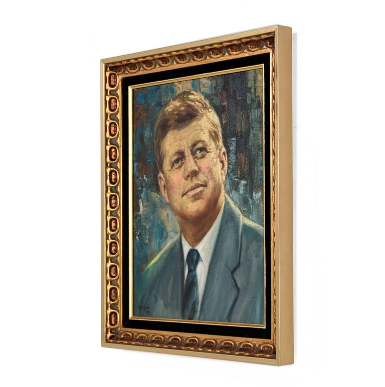 This original acrylic painting captures the essence of the great John F. Kennedy on a beautiful abstract modernist background. The painting along with its embossed black and gold frame are an aesthetically pleasing combination and celebration of