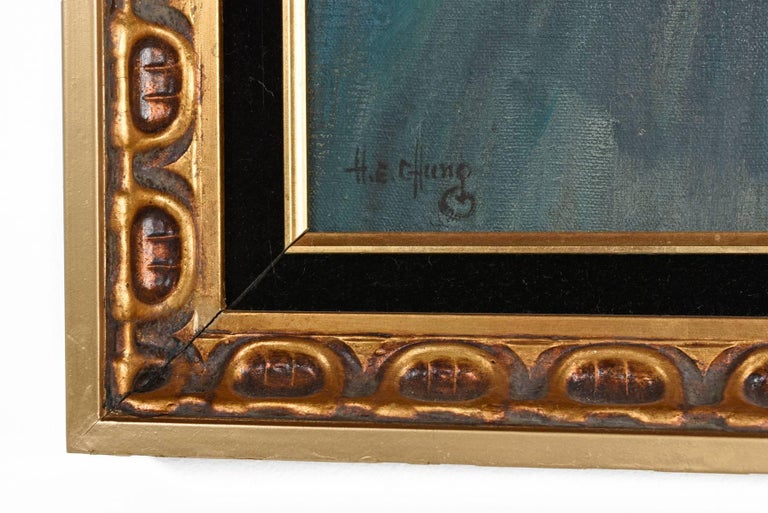 American John F. Kennedy Modernist Abstract Presidential Portrait Signed H.E. Chung 1960s For Sale