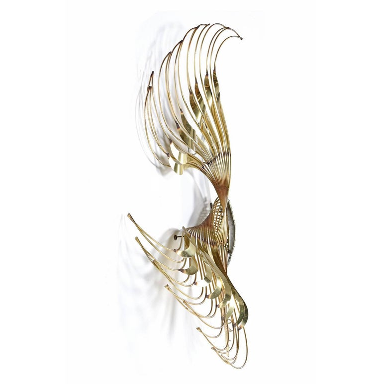 American Curtis C. Jere Brass Peacock Bird of Paradise Wall Art Sculpture, 1980s For Sale