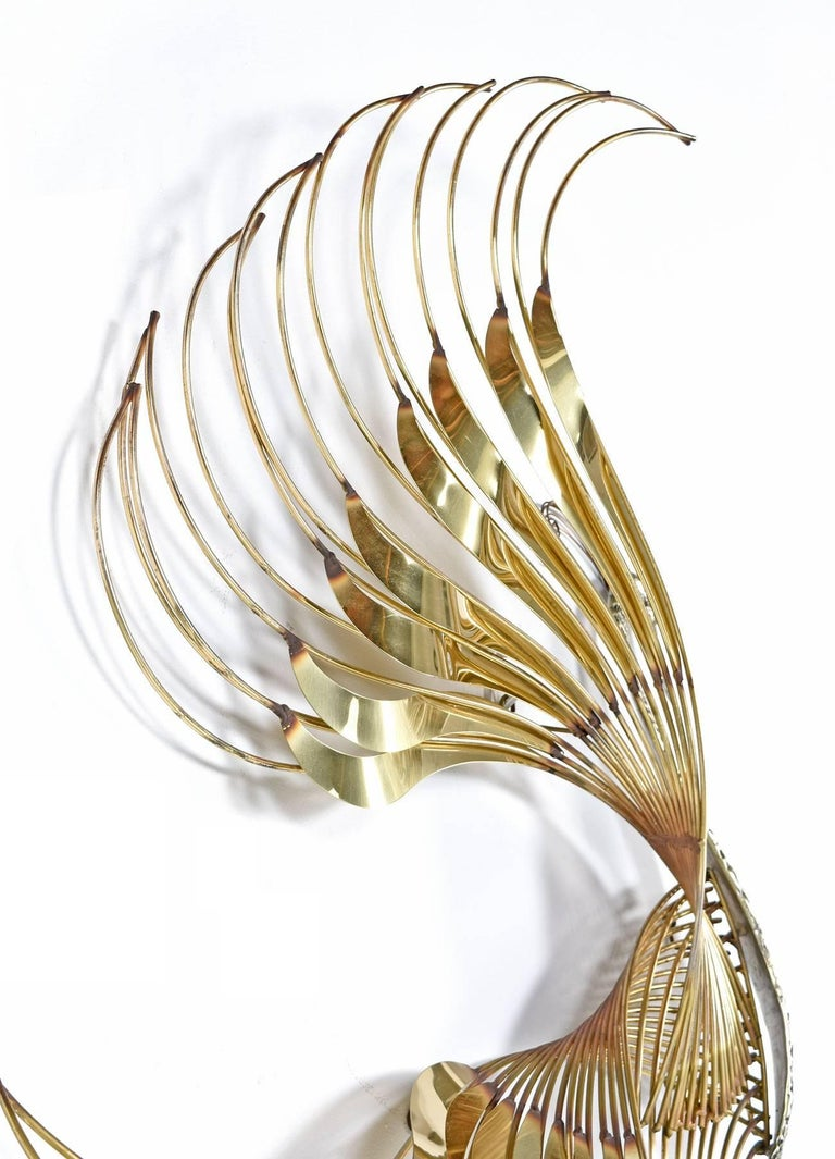 Curtis C. Jere Brass Peacock Bird of Paradise Wall Art Sculpture, 1980s In Excellent Condition For Sale In Saint Petersburg, FL