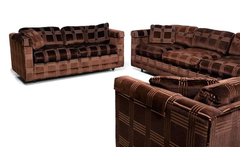 Milo Baughman Style Velour Three Piece Sofa Set By Bernhardt Flair