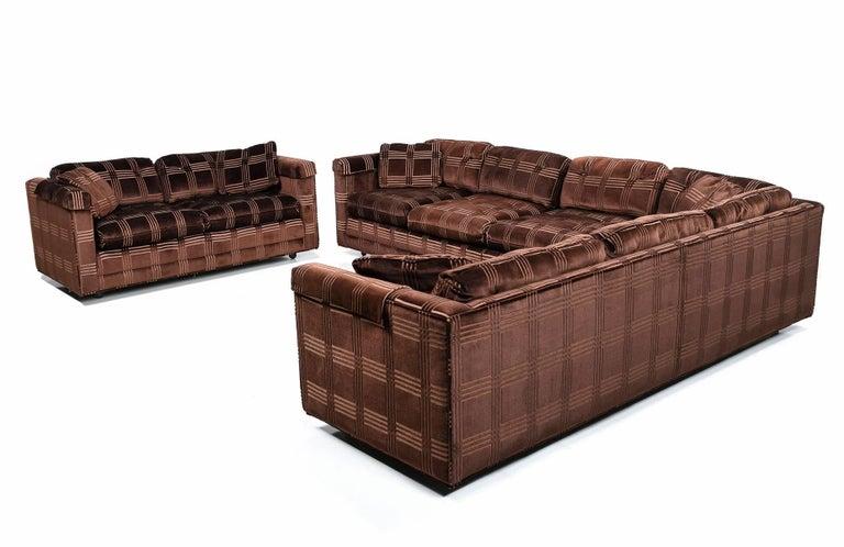 Bernhardt Flair Division Baughman Style Velour Three-Piece Sofa Set ...