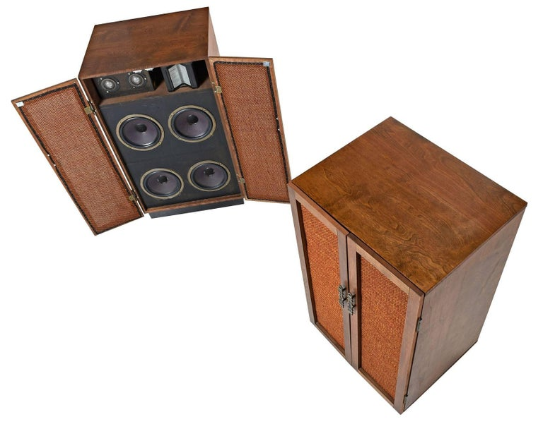 Mid-Century Modern Massive Oak Cabinet Custom Made Speakers by Olson, 1960s For Sale