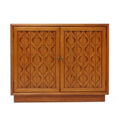 Heritage Furniture Hollywood Regency Moroccan Style Pecan Commode Cabinet