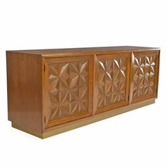 Diamond Front Moroccan Style Hollywood Regency Henredon Credenza Sideboard