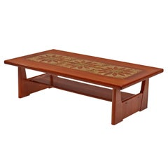 Danish Teak Stone Tile Leaf Motif Coffee Table by BRDR Furbo