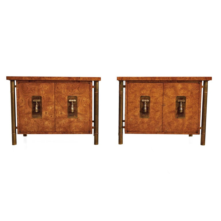 Mastercraft Nightstand End Tables Hollywood Regency Burl Wood & Brass