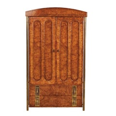 Mastercraft Armoire Hollywood Regency Burl Wood & Brass