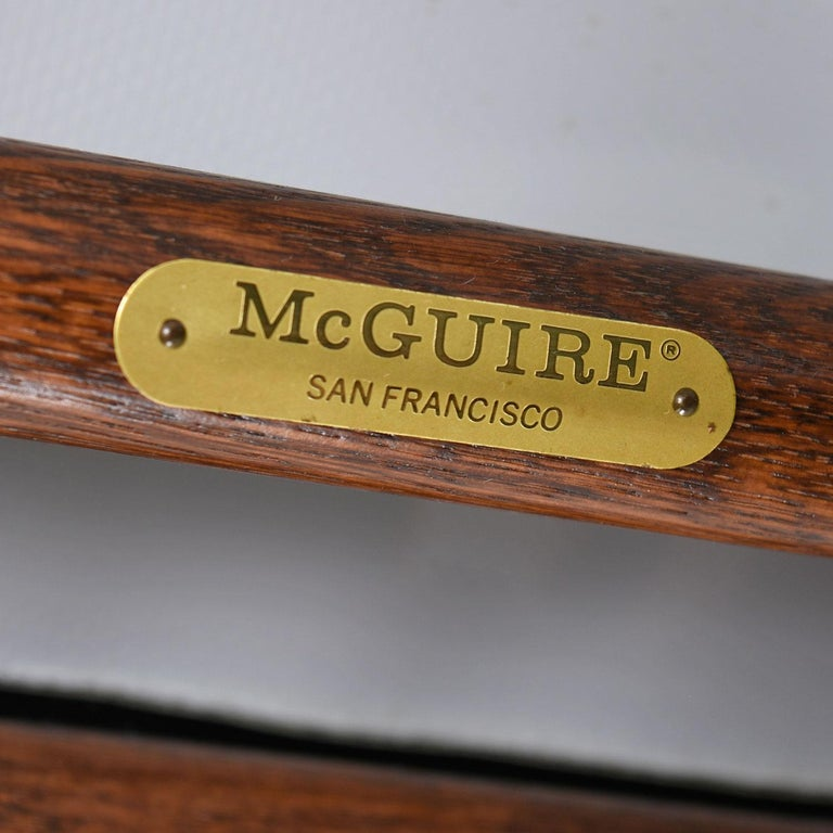 McGuire Director Chair X-Chair, Vintage Black Leather, Oak and Brass For Sale 2