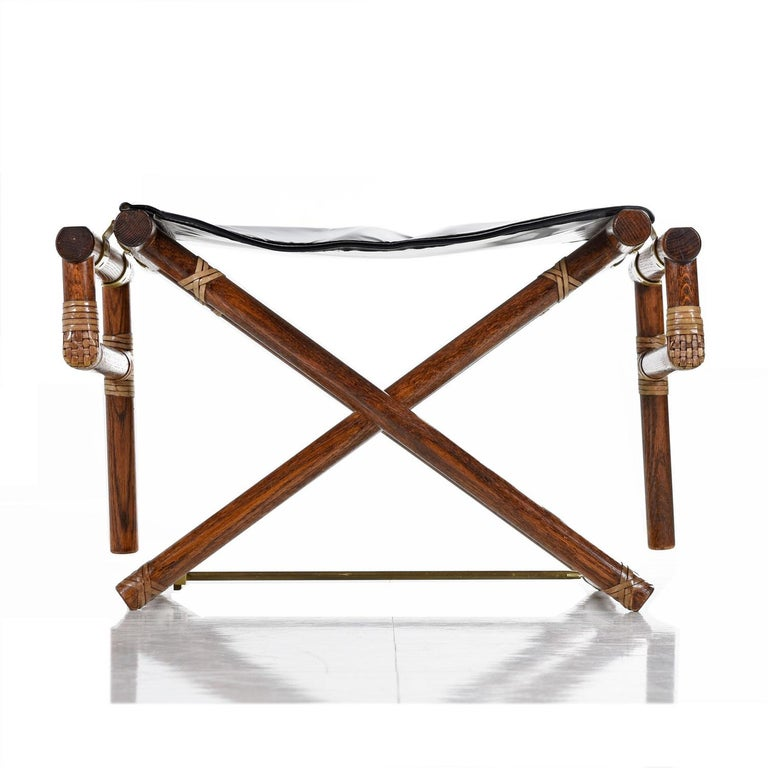 McGuire Director Chair X-Chair, Vintage Black Leather, Oak and Brass For Sale 3