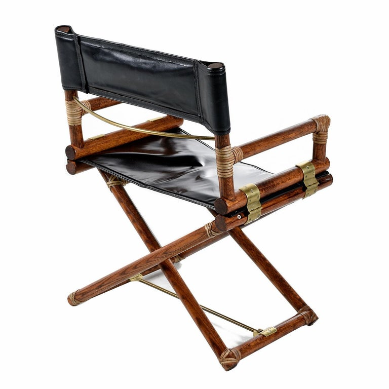 Mid-Century Modern McGuire Director Chair X-Chair, Vintage Black Leather, Oak and Brass For Sale