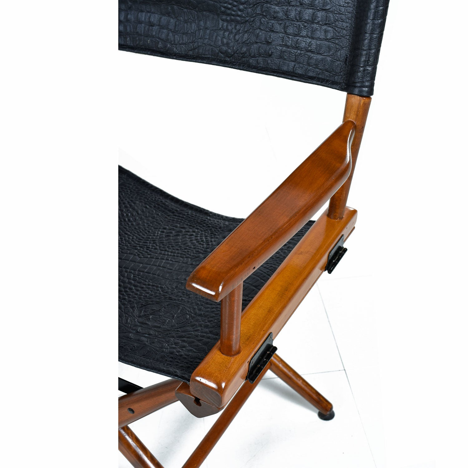 Director Chair Set By Telescope, Restored With Black Alligator Leather