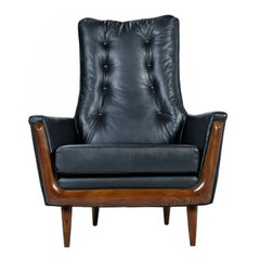 Restored Adrian Pearsall Style Black Leather High Back Tufted Lounge Chair