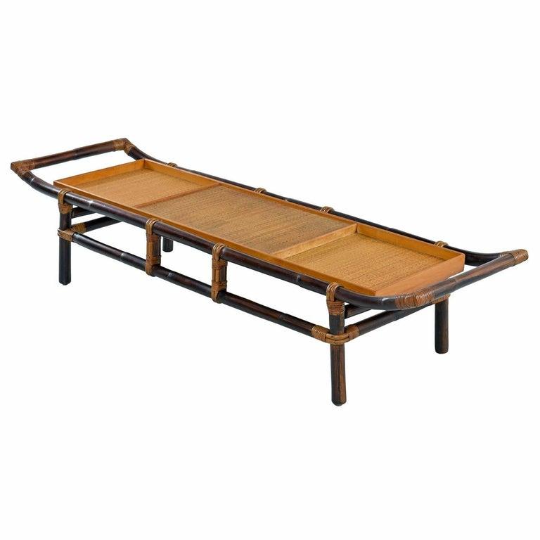 John Wisner for Ficks Reed Asian Modern Rattan Bamboo Pagoda Coffee Table