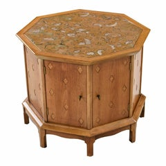 Horizon by Thomasville Decorative Abstract Stone Top Octagon Commode Cabinet