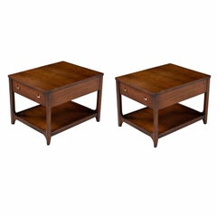 Broyhill Brasilia Nightstand Bedside End Tables - Walnut Chairside Tables
