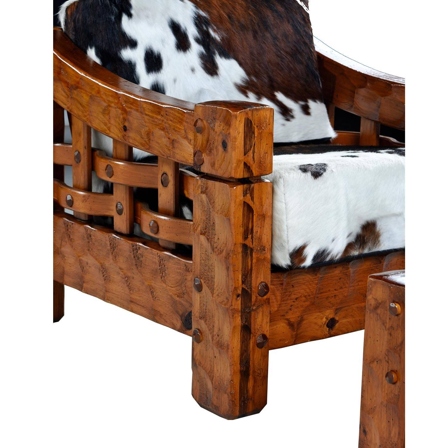 Rustic Modern Cowhide Leather Solid Pine Lounge Chair And Ottoman By Null  For Sale At 1stdibs