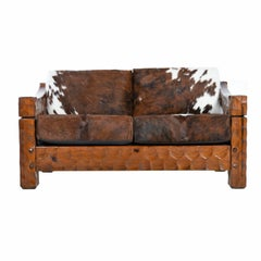 Rustic Modern Cowhide Leather Solid Pine Loveseat Sofa Settee by Null