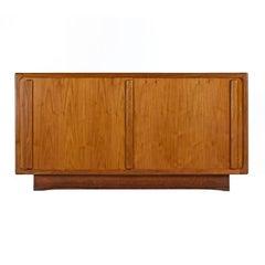 Scandinavian Modern Teak Sliding Door Front Media Cabinet Credenza
