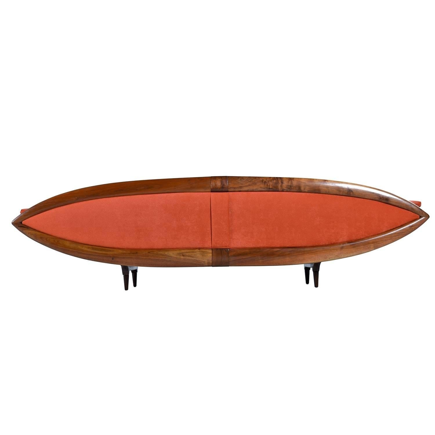Delicieux Restored Custom Made Pearsall Style Asian Modern Walnut Gondola Sofa Couch  For Sale At 1stdibs