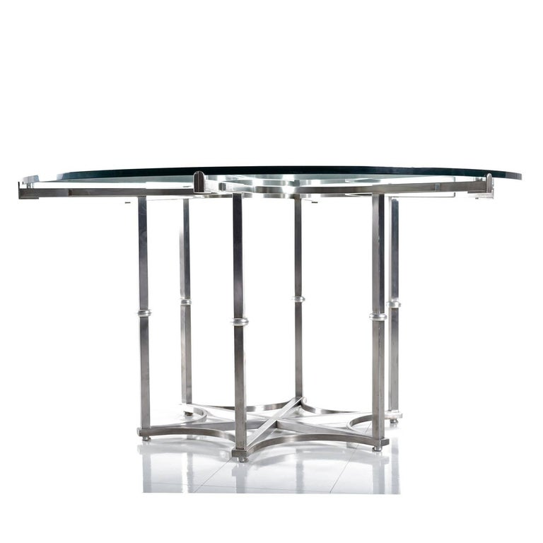 American Custom Made Metal And Glass Round Modern Dining Table For