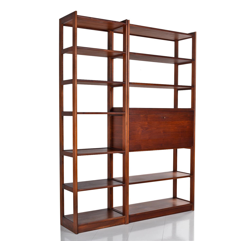 Danish Modern Freestanding Two Piece Walnut Room Divider Bookshelf, Circa 1960S