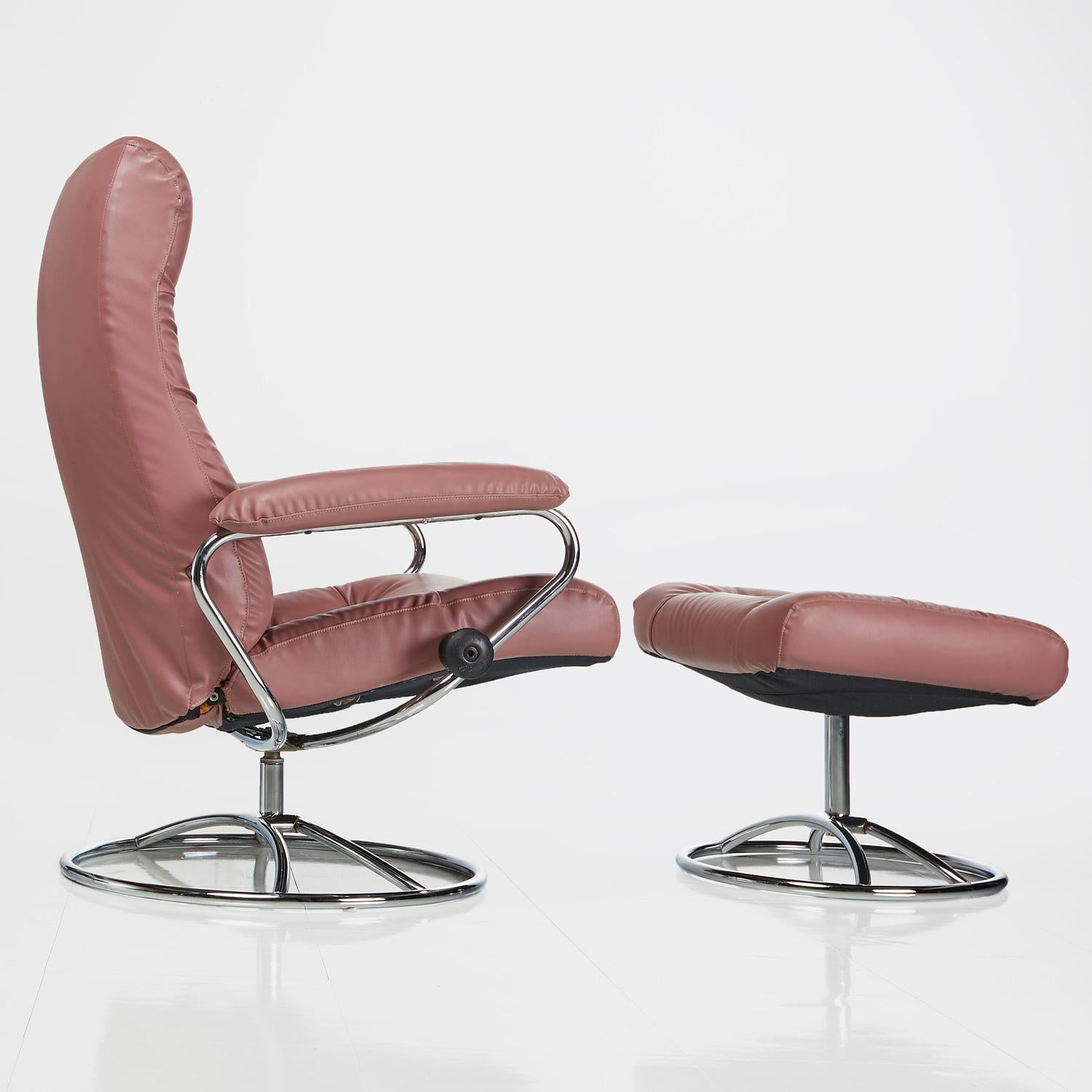 j e ekornes stressless recliner swivel rose leather lounge chairs