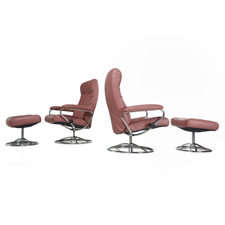 J.E.Ekornes Stressless Recliner Swivel Rose Leather Lounge Chairs and Ottoman