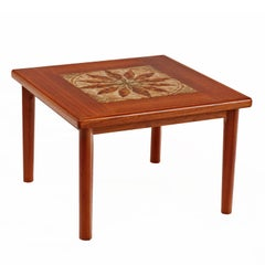 Danish Teak Stone Tile Leaf Motif End Table by BRDR Furbo