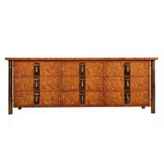 Mastercraft Dresser Credenza Hollywood Regency Burl Wood & Brass
